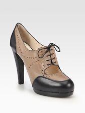 New GIORGIO ARMANI Leather Platform Lace Pumps Mary Jane Beige Black Booties 38