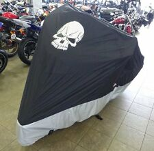 """Deluxe all season Motorcycle cover SKULL logo in Black. Fits up to 108"""""""