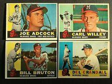 1960 Topps #3 Joe Adcock Milwaukee Braves Tarjeta de béisbol