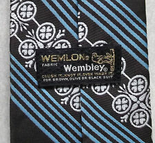 Wemlon Wembley Marrone Scuro Blu a Righe Vintage 1970s Wide Tie Retrò MOD Funky