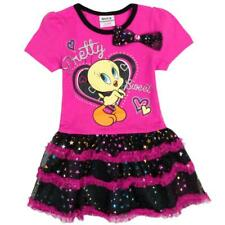 Cartoon Tweety girl hot pink black party summer dress (Only 2-3 Years left)