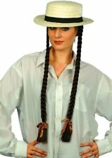 Long Black Brown Plaits Braids Wig fancy dress costume Halloween womens