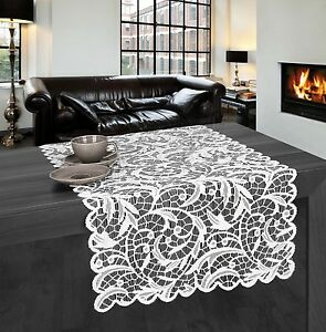 """Rectangular white, lace tablecloth / table runner NEW 55 x 135 cm (22"""" x 53"""")"""