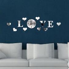 """3D """"LOVE"""" Wanduhr Wandtattoo Kristall Spiegel Design DIY Silber Home Dekoration"""