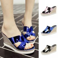 Womens Shiny Mules Sandals Wedge High Heels Hollow Out Peep Toe Platform Shoes