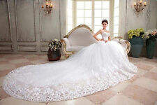 white ivory cathedral train wedding dress bridal gown size 4 6 8 10 12 14 16 18+