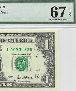 2001 $1 SAN FRANCISCO *STAR* 🌟 FRN, PMG SUPERB GEM UNCIRCULATED 67 EPQ BANKNOTE