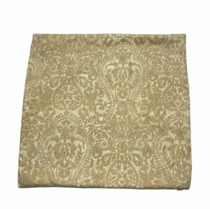 """Pottery Barn Accent Pillow Cover Floral Damask Tan 18"""" Square Cotton/Linen Throw"""