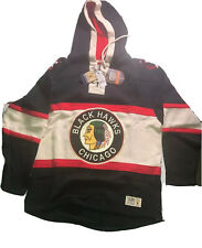 Chicago Blackhawks NHL Old Time Hockey Vintage Jersey Laced Hoodie Sweatshirt L