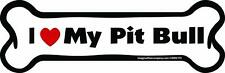 Dog Magnetic Car Decal - Bone Shaped - I Love My Pit Bull - Made in Usa