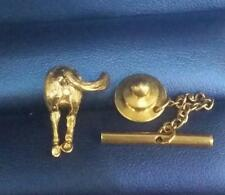 Amusing 14k Solid Gold Horse Rear End Set Diamond  Moveable Tail Tie Tack / Pin
