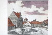 Kupferstich altkoloriert Nürnberg Die Beunt um 1750