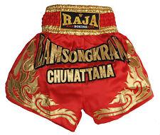 Short boxe Thaïlandaise Muay Thai RAJA boxing satin rouge Lamsongkram
