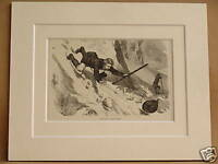 SWISS ALPS ANTIQUE MOUNTED ENGRAVING c1890 10X8 V RARE