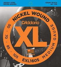 D'ADDARIO EXL160S NICKEL  XL BASS STRINGS, SHORT SCALE MEDIUM GAUGE 4's - 50-105