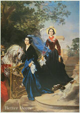 """28"""" PRINT Portrait of Sisters,1839 by Bryullov ANTIQUE MUSEUM ART - VICTORIAN"""
