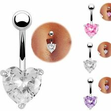 8mm CZ Crystal Heart Navel Bar Belly Button Ring 316L Surgical Steel-UK SELLER