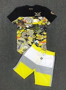 Mens 2-Piece Casual/Active Aviator Outfit Foil T-Shirt+Track Short Set 4 Colors