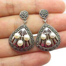 925 Sterling Silver Real Marcasite Gemstone Pearl Drop Earrings