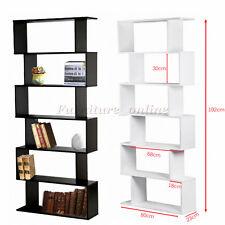 Panana 6 Tier S Shape Bookshelf Bookcase Display Unit Divider Storage Shelves