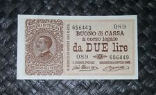 REGNO 2 LIRE BUONO DI CASSA VITTORIO EMANUELE III DECR 28/12/1917 SPL+ R2