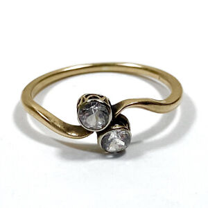 """Antique 14ct Rose Gold White Sapphire Ring """"Toi Et Moi"""" Style Size O 1/2"""