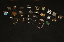 Lot Vintage Estate Jewelry Men's Tie Tac Clasp Pins Cuff Links Jeweled Novelty