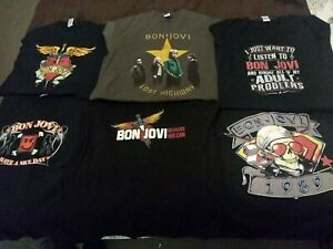 Bon jovi t shirts bundle sizes are l XL and XXL but all roughly the same size