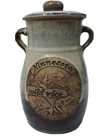 Minnesota Wild Rice Stoneware Pottery Canister Jar Crock duck Goose Signed (b)