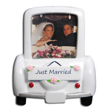 Personalized Just Married Car Picture Frame Newlywed's First Christmas Ornament