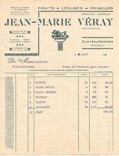 CHATEAURENARD (13) . FACTURE DE 1933 . JM. VERAY . PRIMEURS FRUITS & LEGUMES