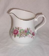 QUEEN ANNE BEAUTIFUL VINTAGE MILK JUG PINK FLORAL EDGED IN GOLD