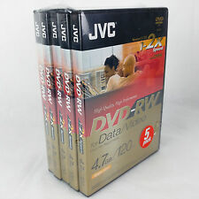 JVC DVD-RW 4.7 Go 120 m Ré-Enregistrables DVD Pack de 5 Données VD-W47DE5V vidéo 1-2X x5