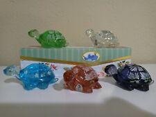 5 Fenton Art Glass Hand Painted Turtles Signed w/ original Stickers