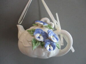 Mud Pie Pansy Teapot Christmas Ornament 1998