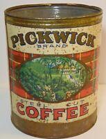 LARGE Rare Old Vintage 1930s PICKWICK COFFEE TIN GRAPHIC 3 POUND TIN KANSAS CITY