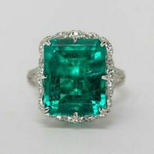 Green Emerald Cocktail Party Solitaire Ring 925 Sterling Silver Engagement Gift