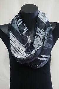 Ladies Fashion Snood Loop scarf, Stripes Black Grey Infinity ,soft cotton feel