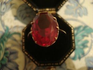 Beautiful 14CT Rose Gold: Large Oval Cut Brilliant Red Simulated Ruby Set Ring