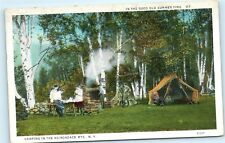Camping Tent Stone Rock Fireplace Fire Pit Adirondack Mountains NY Postcard B12