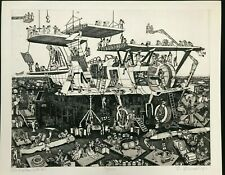 """""""Airplane Works"""" Bruce McCombs ETCHING Pencil Signed LIMITED EDITION Rare PRINT"""