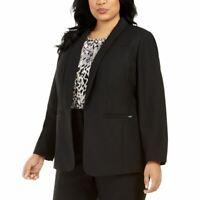 CALVIN KLEIN Women's Plus Textured Open-front Lined Blazer Jacket Top TEDO