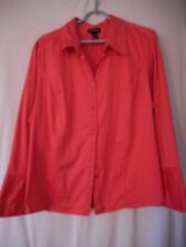 Lane Bryant Size 18 / 20  Coral Button Front long sleeve blouse top