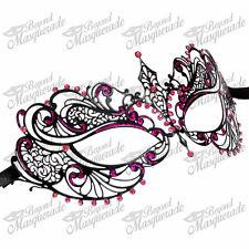 Women Extravagant Laser Cut Venetian Masquerade Mask Pink Rhinestone and Glitter