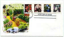 5233-36 Flowers from the Garden, plate number strip of 4, Panda Cachets, FDC