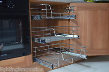 PULL OUT WIRE BASKET FOR KITCHEN CABINET BASE UNIT LARDER CUPBOARD SOFT CLOSE