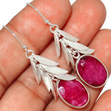 Sterling Silver Earring Jewelry Ae148139 New listing Leaves Overlay - Ruby 925