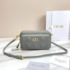DIOR CARO DOUBLE POUCH Gray  Supple Cannage Calfskin