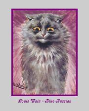 "A 10"" x 8"" Art Print Reproduction Louis Wain - Blue Russian Cat"