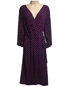 WARDROBE WOMEN'S UK 28 STRETCH TEA DRESS GEOMETRIC PRINT MOCK WRAP DAY-DRESS